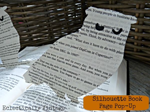 Pop Up Book Page Owl Silhouette - easy way to make your own!  eclecticallyvintage.com