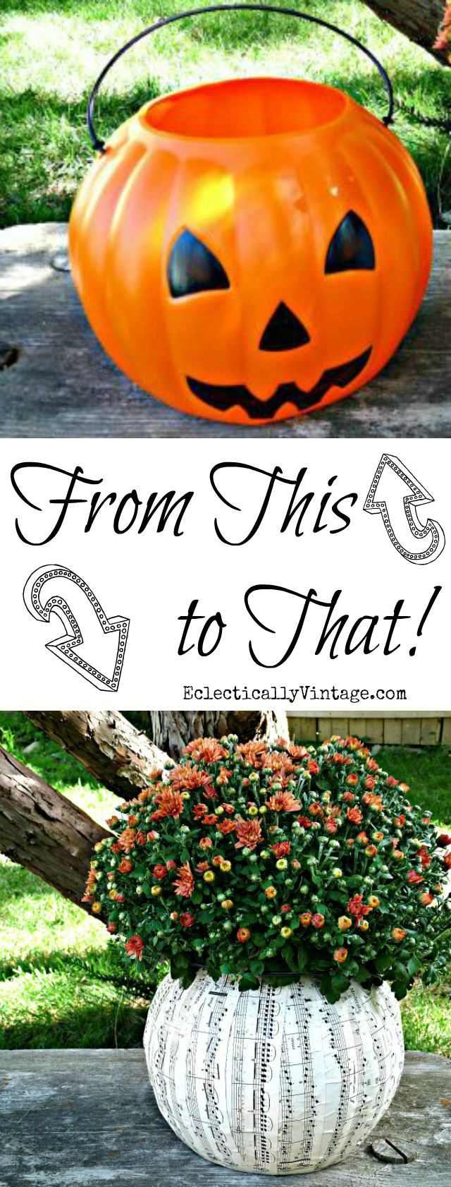 Plastic Pumpkin Ideas - turn an ugly plastic pumpkin pail into a fun planter - step by step directions eclecticallyvintage.com