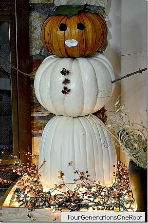 snowman made from pumpkins