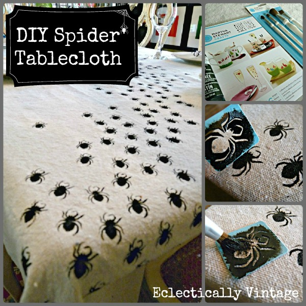 #Halloween Crafts -  Make this Swarming Spider Tablecloth - be the hit of your dinner party!  eclecticallyvintage.com