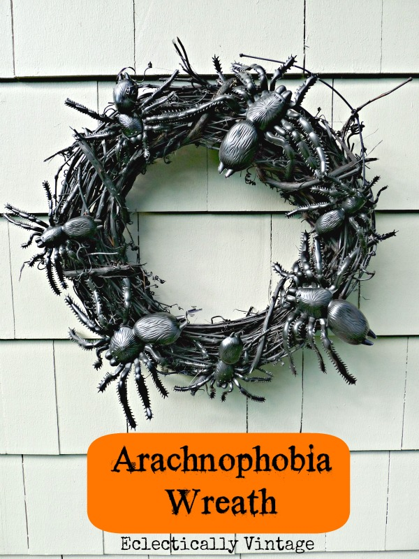Halloween House Tour - tons of creative #Halloween decorations like this DIY spider wreath!  eclecticallyvintage.com