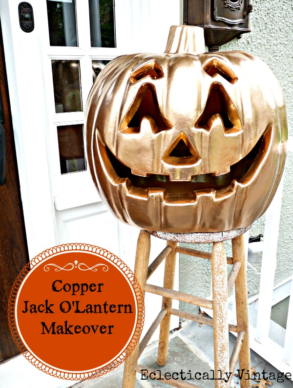Halloween House Tour - tons of creative #Halloween decorations like this DIY copper pumpkin!  kellyelko.com