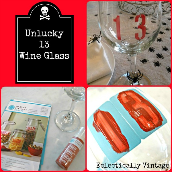 #Halloween Crafts -  Make these unlucky 13 glasses - be the hit of your dinner party!  eclecticallyvintage.com