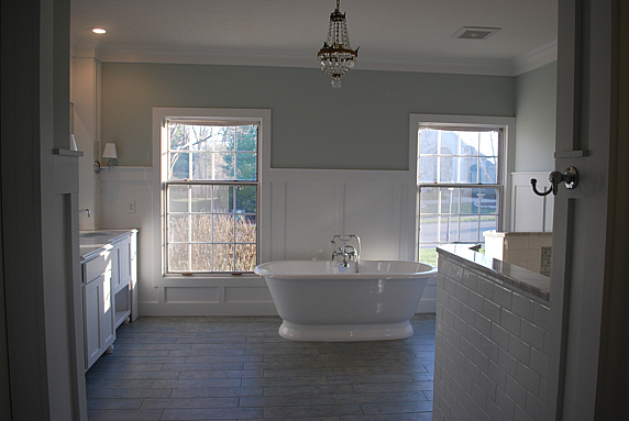 White Bathroom with gorgeous freestanding tub - check out the rest of the house!