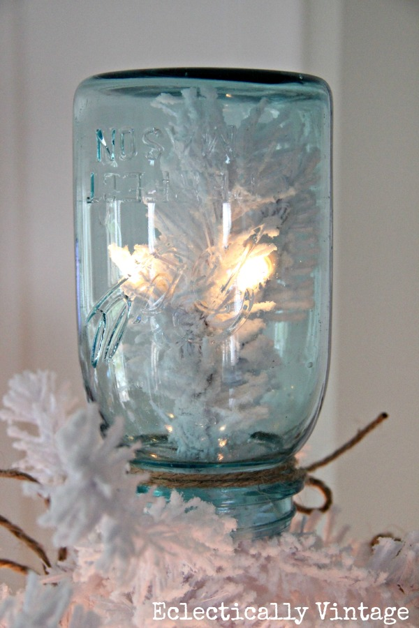 Unique Mason Jar Tree Topper -you have to see this tree!  eclecticallyvintage.com