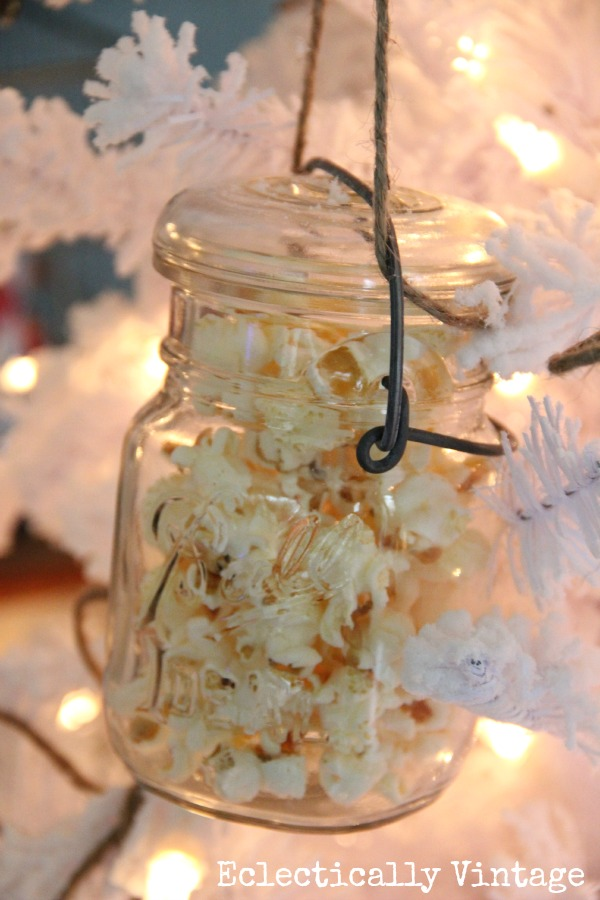 Popcorn filled Mason Jar Christmas Ornament kellyelko.com