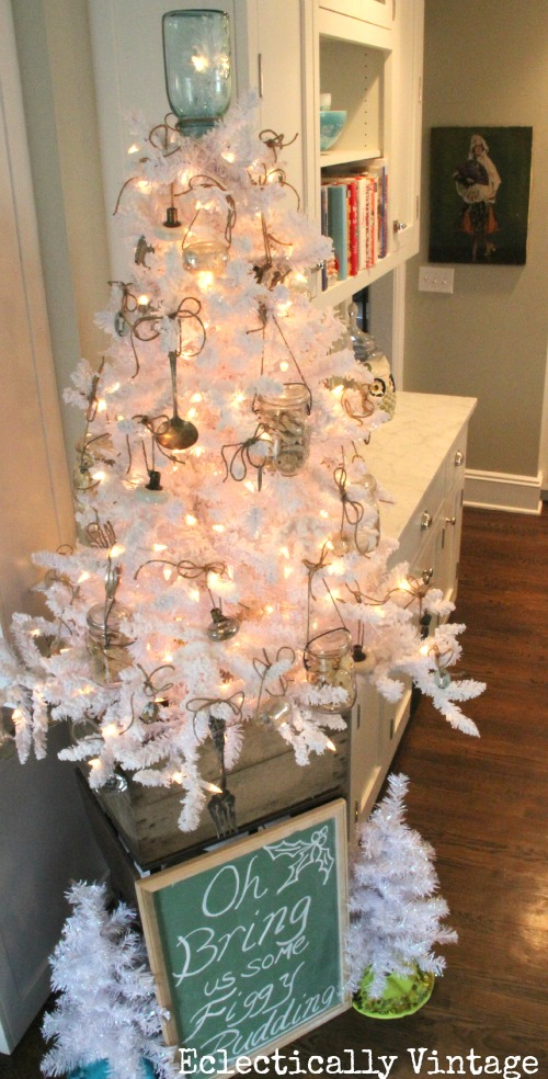 White kitchen Christmas tree - love the mason jar topper & ornaments!  eclecticallyvintage.com