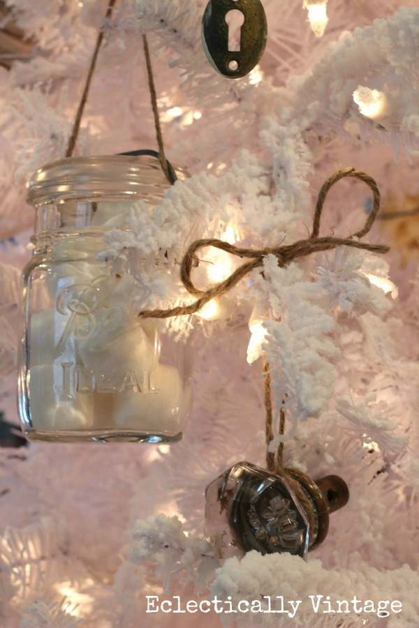 Christmas House Tours - step inside this 100 year old home filled with tons of fabulous decorating ideas like this mason jar ornament white tree!  eclecticallyvintage.com