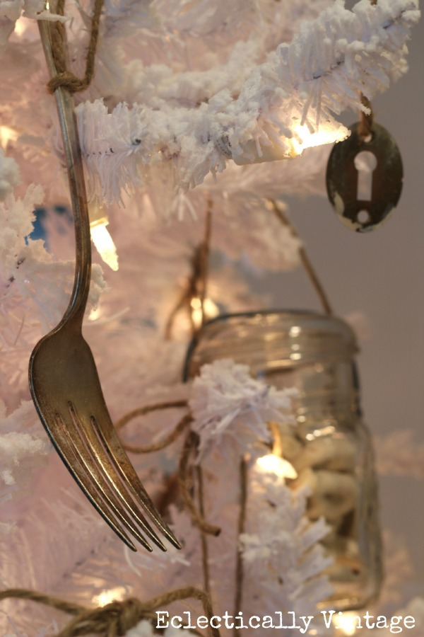 Vintage decorations on a white Christmas tree kellyelko.com