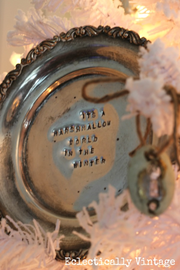 Stamped silver platter Christmas tree ornament kellyelko.com