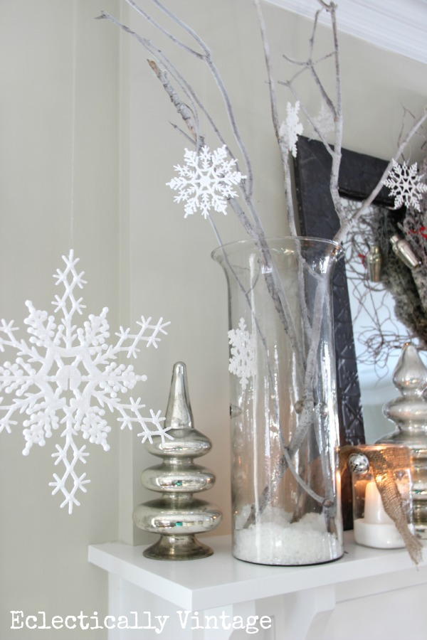 Christmas House Tours - step inside this 100 year old home filled with tons of fabulous decorating ideas like these snowflakes!  eclecticallyvintage.com
