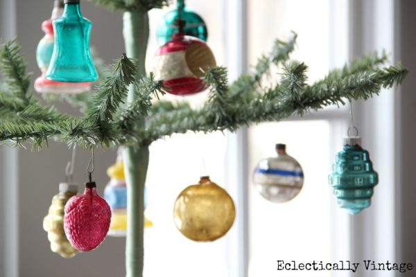 Christmas House Tours - step inside this 100 year old home filled with tons of fabulous decorating ideas like these feather trees!  eclecticallyvintage.com