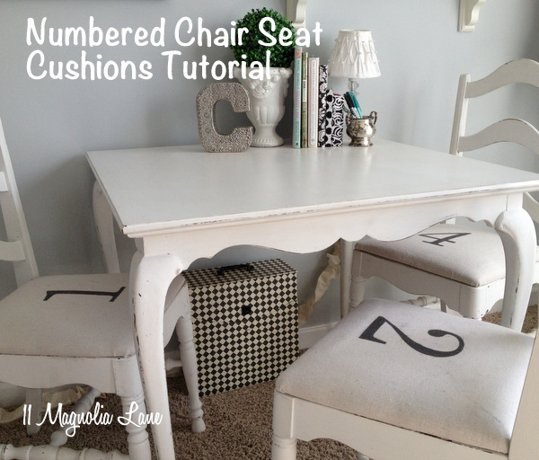 Make your own numbered seat cushions! eclecticallyvintage.com