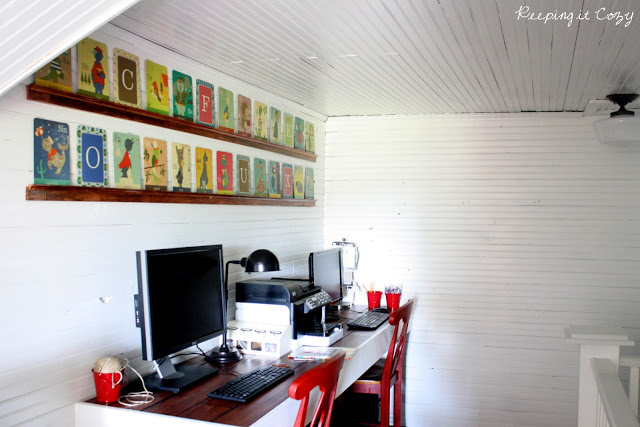 Simple farmhouse office - love the bookshelves