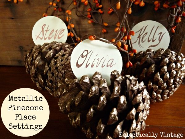 Metallic Pinecone Place Settings - Eclectically Vintage