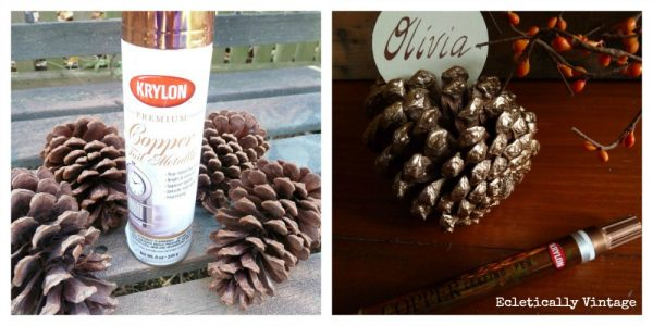 Make It:  Metallic Pinecone Crafts Place Setting - a bit of bling for your fall table kellyelko.com