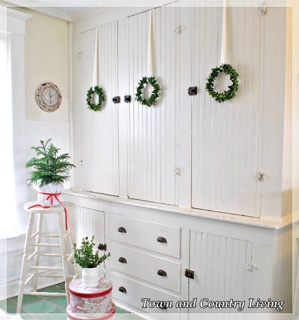 Trio of handmade wreaths - part of this Christmas house tour