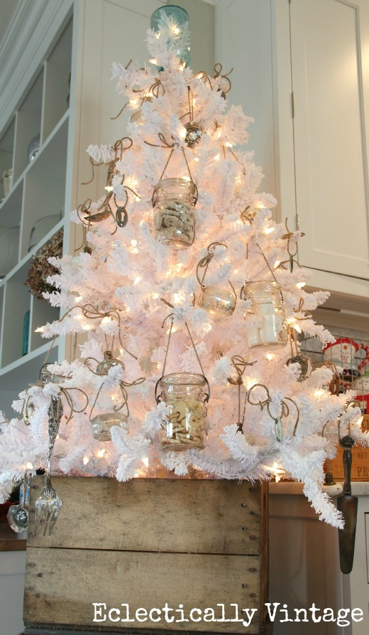 Eclectically Vintage Kitchen Mason Jar Christmas Tree - check out those ornaments and tree topper!