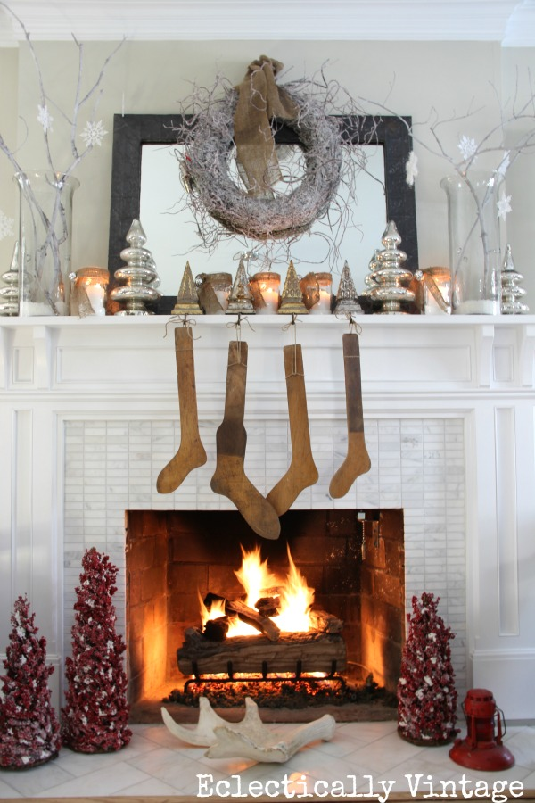 Christmas House Tours - step inside this 100 year old home filled with tons of fabulous decorating ideas like this white mantel!  eclecticallyvintage.com