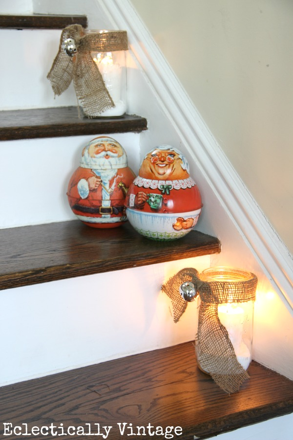 Christmas House Tours - step inside this 100 year old home filled with tons of fabulous decorating ideas like these snowy mason jar candles!  eclecticallyvintage.com