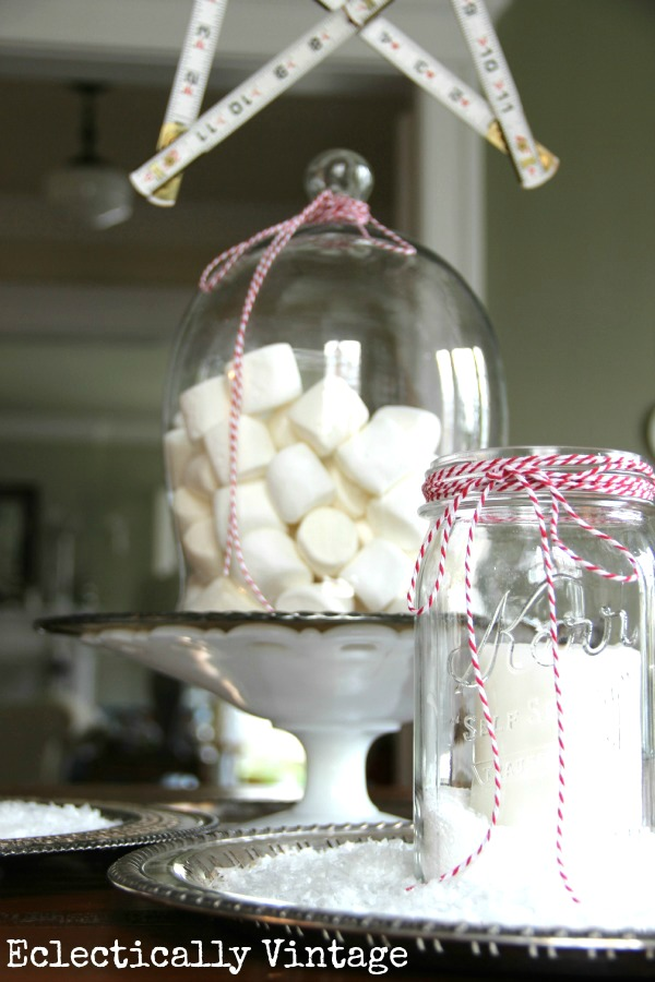Christmas House Tours - step inside this 100 year old home filled with tons of fabulous decorating ideas like this marshmallow centerpiece!  kellyelko.com