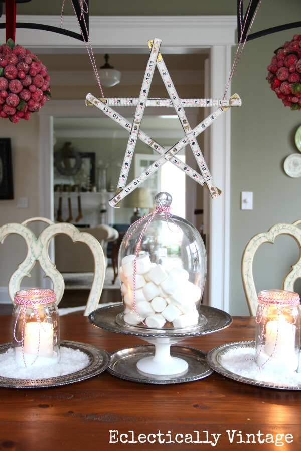 Christmas House Tours - step inside this 100 year old home filled with tons of fabulous decorating ideas like this yardstick star!  kellyelko.com