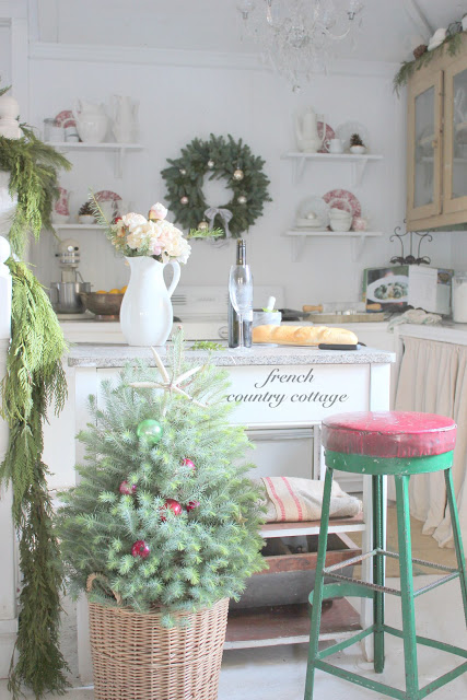 French Country Cottage Christmas Tour - what an inviting kitchen