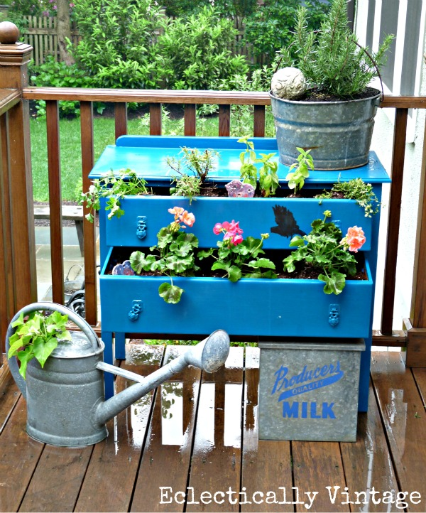 Eclectically Vintage DIY Dresser Planter - turn a thrift shop find into a unique garden centerpiece