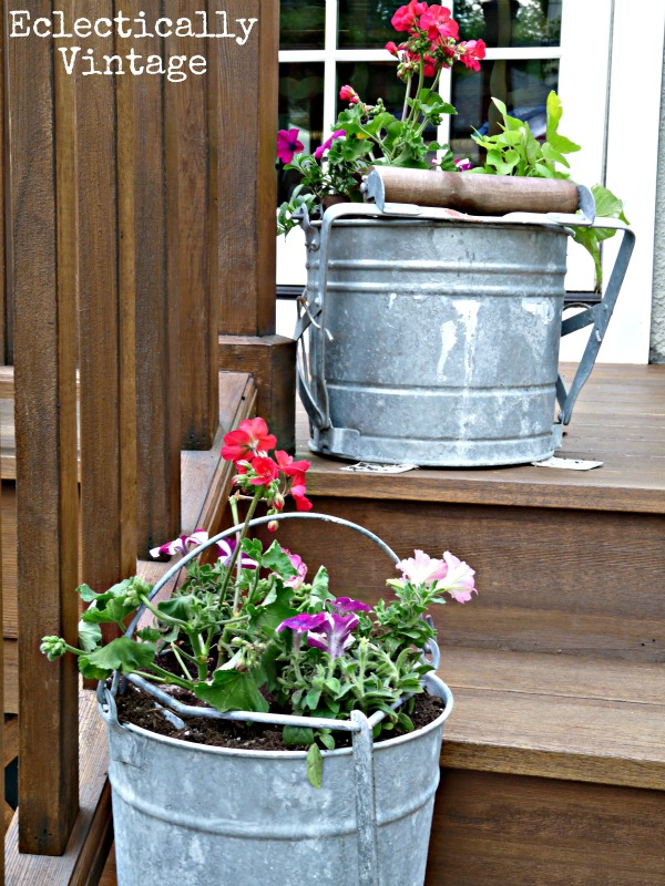 Eclectically Vintage Mop Bucket Planters - think outside the terra cotta pot!