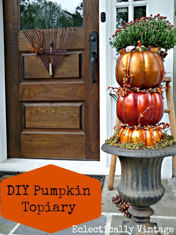 Eclectically Vintage DIY Pumpkin Topiaries - and a fabulous fall porch