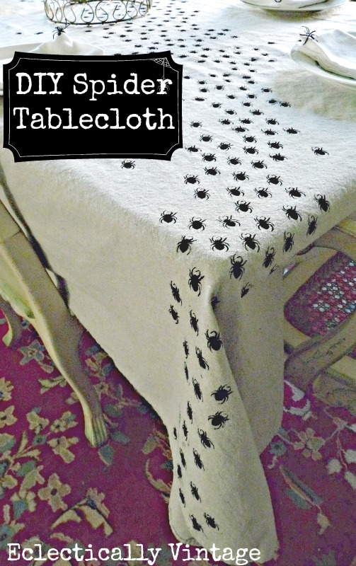 Eclectically Vintage Swarming Spiders Halloween Tablecloth