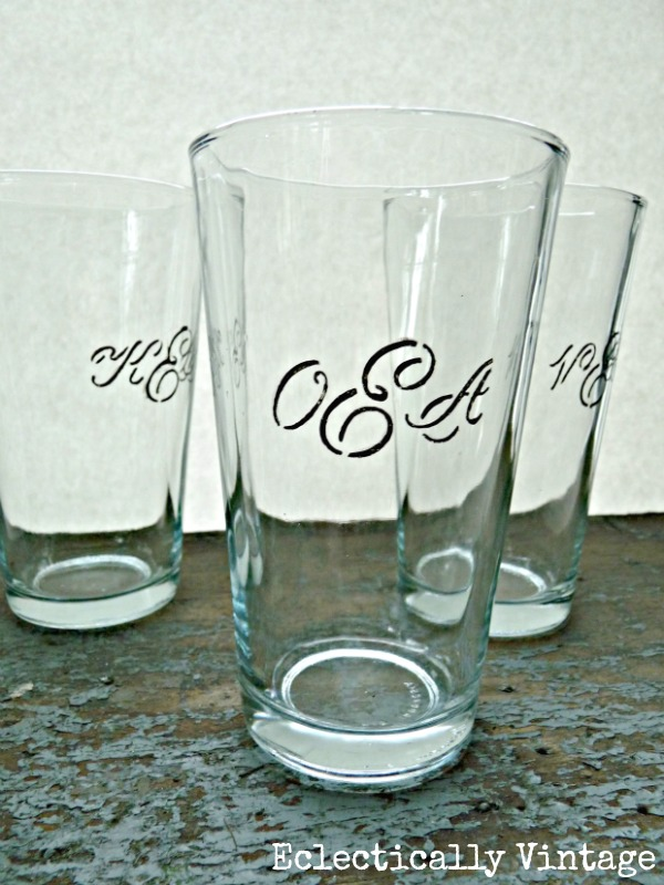 Eclectically Vintage DIY Monogrammed Dollar Store Glasses - never lose your glass again!
