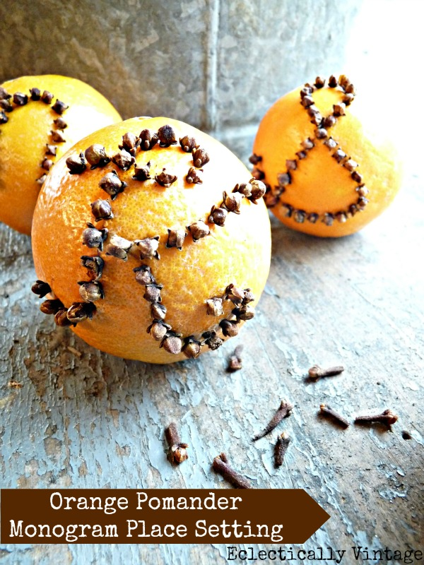 Eclectically Vintage - Monogrammed orange pomanders - they smell amazing