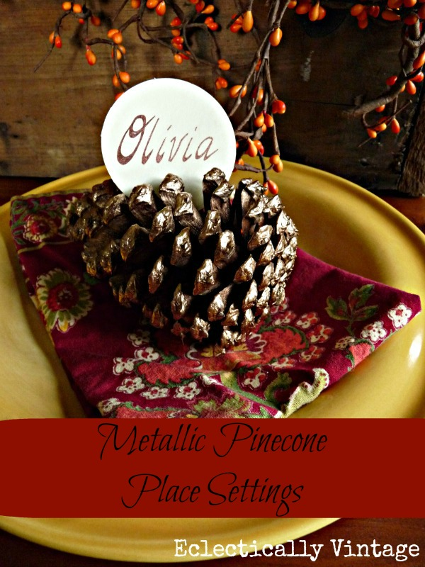 Eclectically Vintage Metallic Pine Cone Place Settings - perfect for any party!