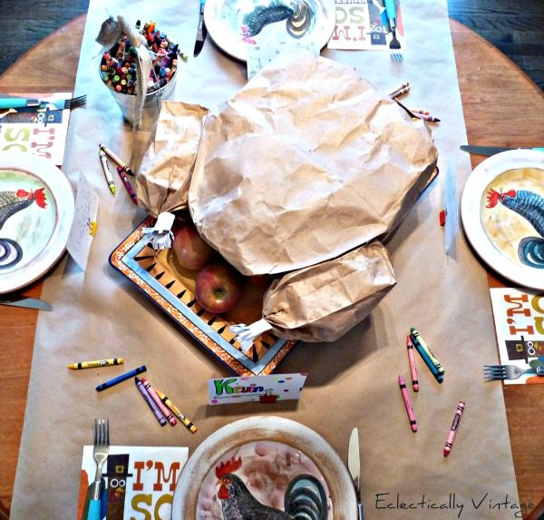 Eclectically Vintage Paper Bag Turkey Centerpiece - fun for the kids and filled with a popcorn surprise