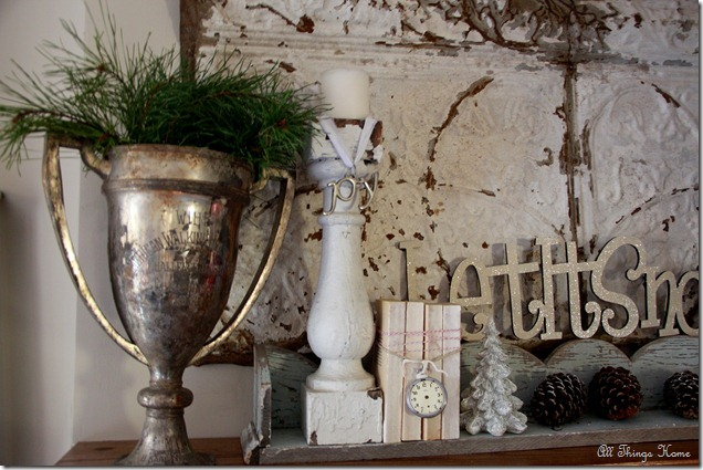 Vintage Christmas Mantel - part of this fun house tour