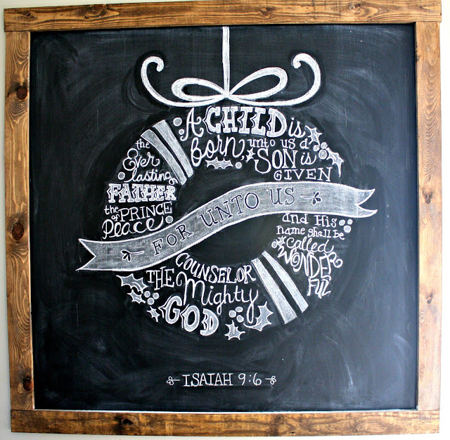 #Christmas House Tours -tons of great DIY ideas like this DIY #chalkboard art kellyelko.com