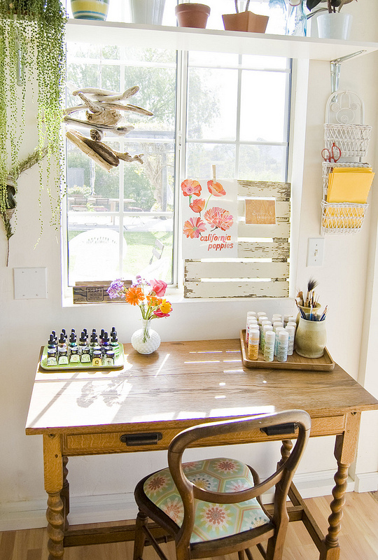 Such a cute little office nook - love the shelf over the window eclecticallyvintage.com