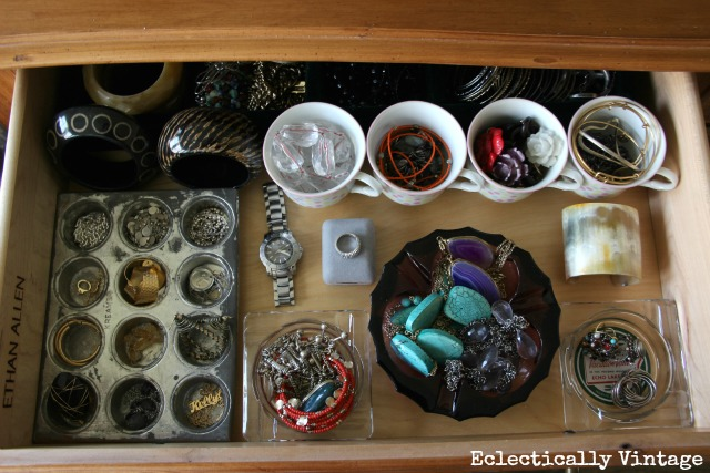 Vintage jewelry organizer - pretty ways to organize any junk drawer!  eclecticallyvintage.com
