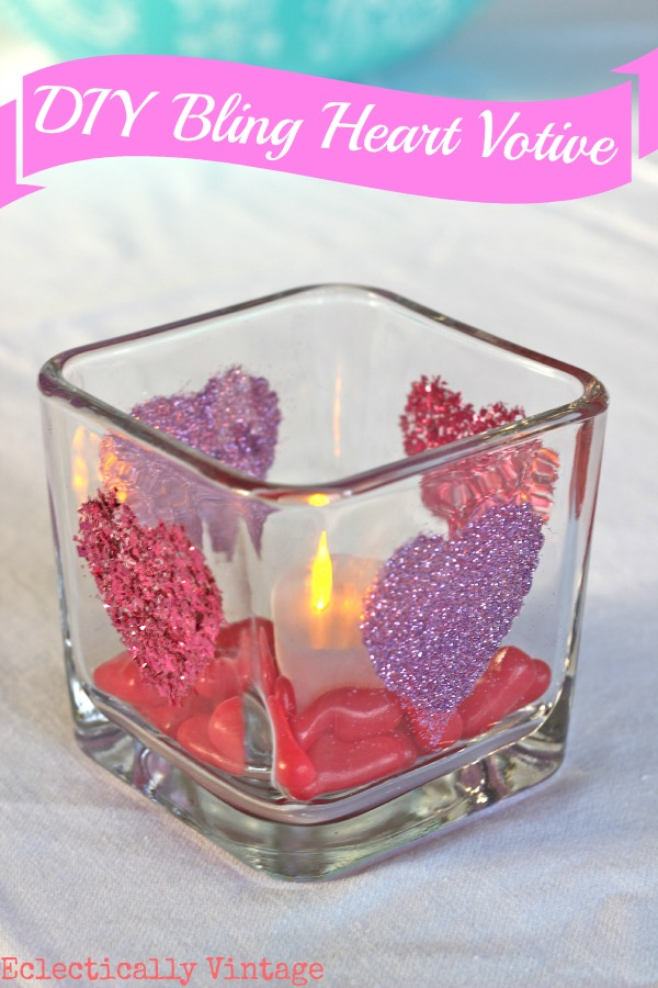 Make a glitter heart candle holder eclecticallyvintage.com