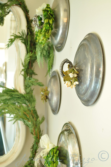 Silver Lid Plate Wall - one of 20+ creative plate walls at eclecticallyvintage.com