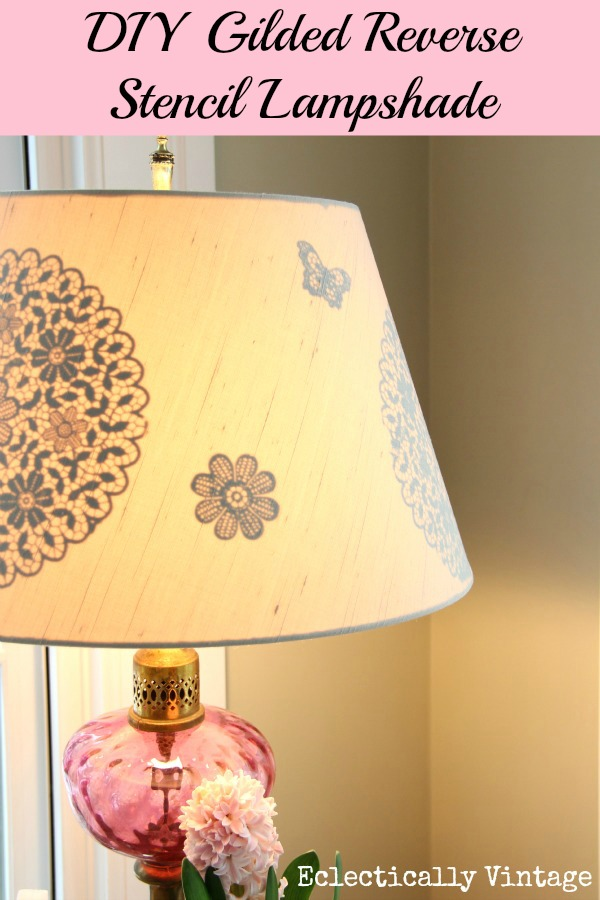 DIY Gilded Reverse Stencil Lampshade - positively glowing!  eclecticallyvintage.com