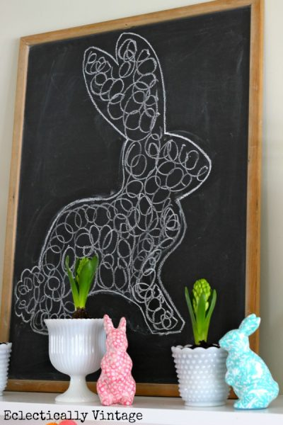 Chalkboard bunny on this fun spring mantel kellyelko.com