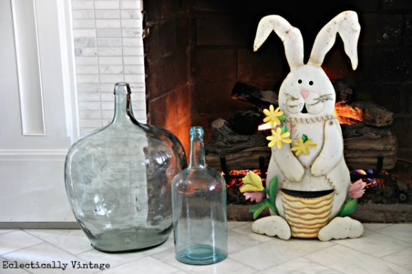 Easter Mantel - love the demijohns kellyelko.com