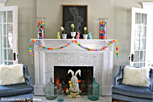 Spring Mantel with the cutest Easter egg garland you can make! kellyelko.com