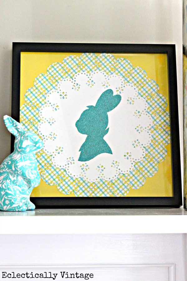Make this cute Easter craft - a bunny silhouette!  kellyelko.com