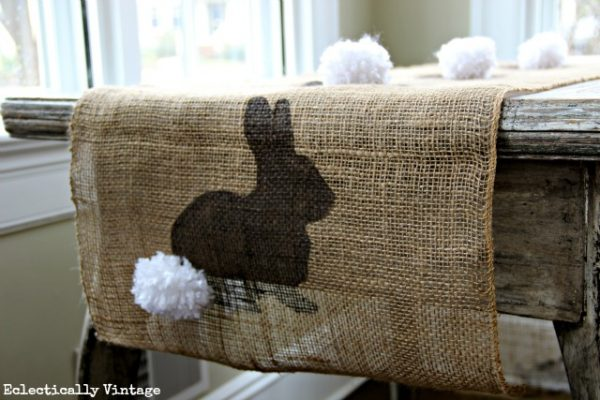 Make a Spring Craft Burlap Bunny Table Runner - with FREE graphic for stencil! eclecticallyvintage.com