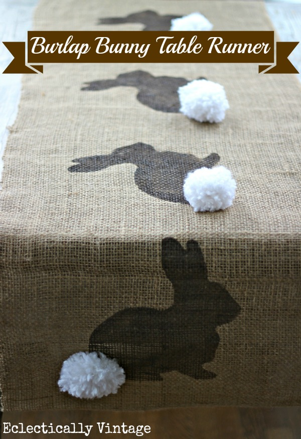 Make a Burlap Bunny Table Runner - with FREE graphic for stencil! kellyelko.com