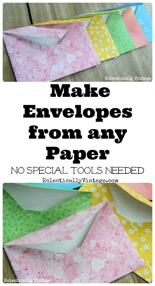 Make DIY Envelopes from any Paper - cute for weddings, invites or gifts! kellyelko.com