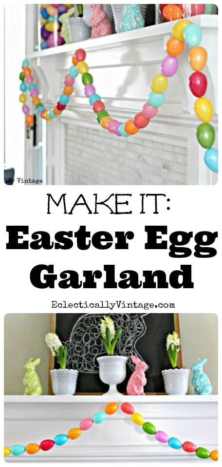 Make an Easter Egg Garland - a fun spring craft to do with the kids!  kellyelko.com